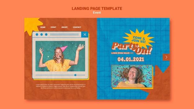 Fête sur un modèle web avec photo