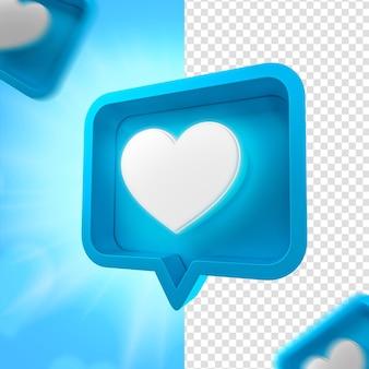 Fête des pères coeur bleu emoji facebook pour la composition rendu 3d