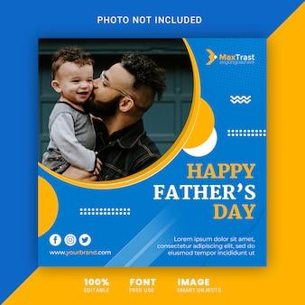Fête des pères heureux, modèle de bannière de publication instagram carré