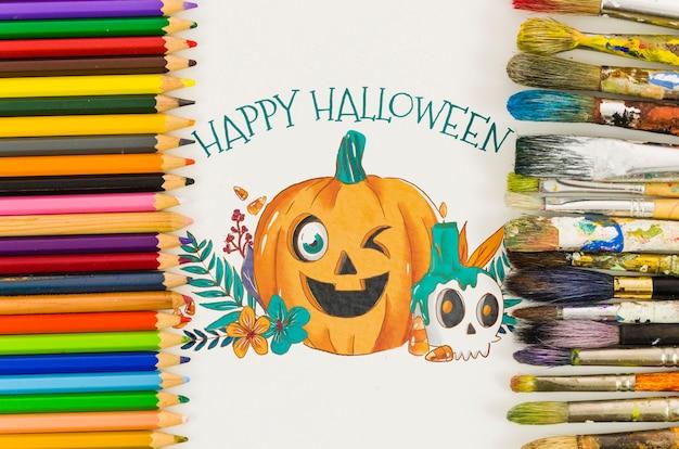 Feuille avec joyeux halloween concept