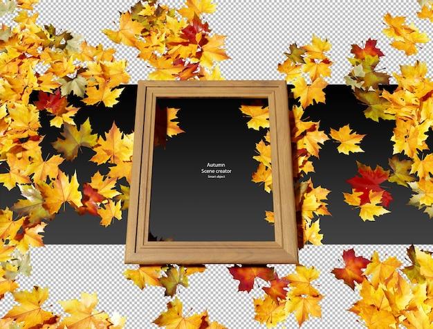 Feuilles d'automne sèches avec cadre en bois feuilles d'automne sèches isolées