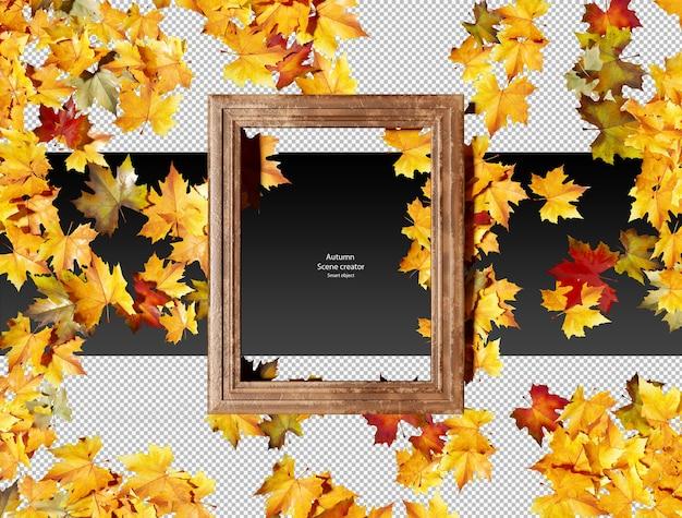 Feuilles d'automne sèches avec cadre en cuir marron feuilles d'automne sèches isolées