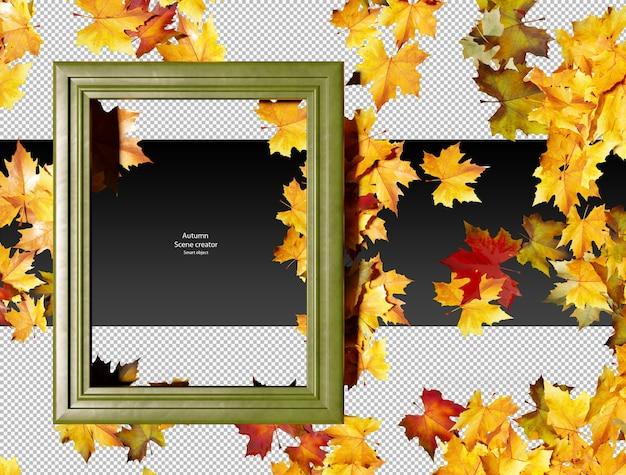 Feuilles d'automne sèches avec cadre en cuir vert feuilles d'automne sèches isolées