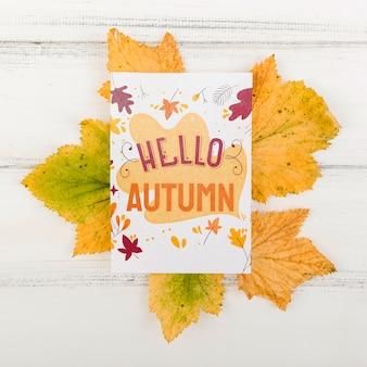Feuilles avec bonjour message d'automne