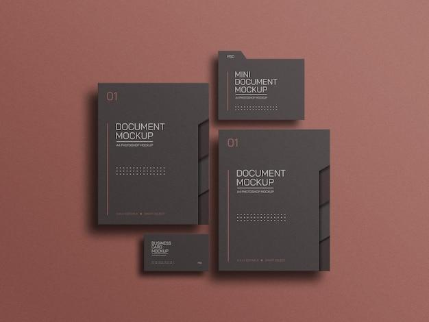 Fichier de document a4 avec maquette de carte de visite
