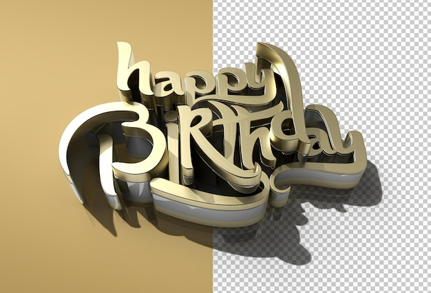 Fichier psd transparent de texte en métal joyeux anniversaire 3d