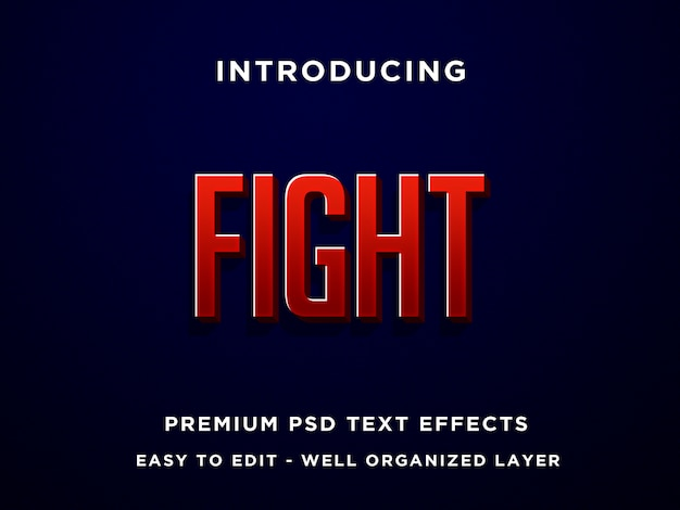 Fight, premium 3d text effects psd