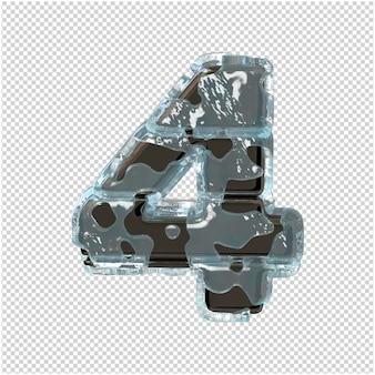 Une figure en métal dans la glace. 3d numéro 4