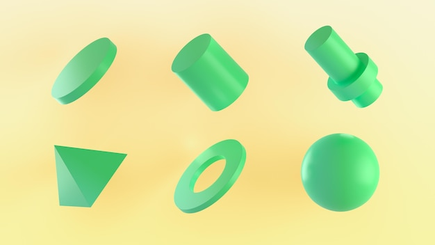 Figures géométriques en rendu 3d