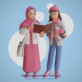 Fille de retour à l'école mascotte personnage 3d illustration lire un livre