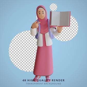 Fille de retour à l'école mascotte personnage 3d illustration tenant un livre