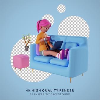 Une fille travaille avec un ordinateur portable sur le canapé rendu 3d de haute qualité travail à domicile illustration