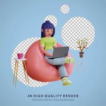 Une fille travaille avec un ordinateur portable rendu 3d de haute qualité travail à domicile illustration