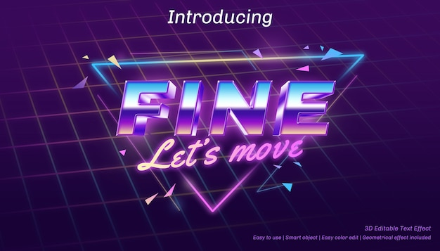 Fine 3d permet de déplacer l'effet de texte modifiable