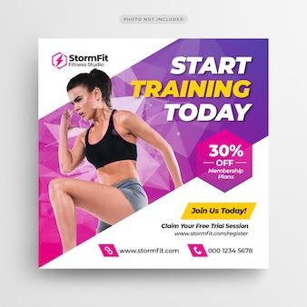 Fitness gym media social post bannière ou flyer carré