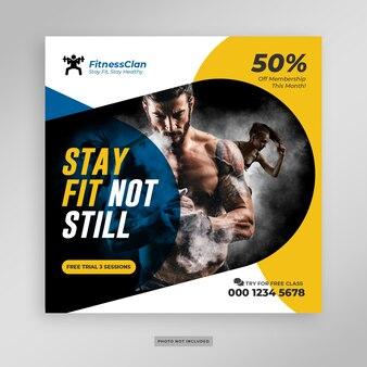 Fitness gym médias sociaux poster bannière flyer