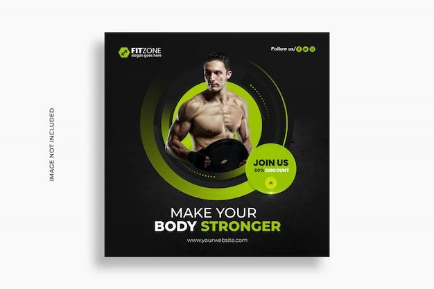 Fitness instagram social media post banner design premium psd template
