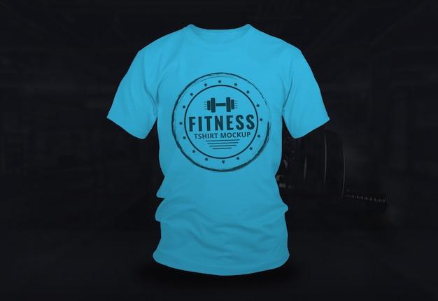 Fitness tshirt mock up design bleu