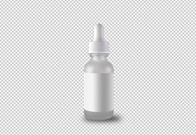 Flacon compte-gouttes isolé avec étiquette blanche
