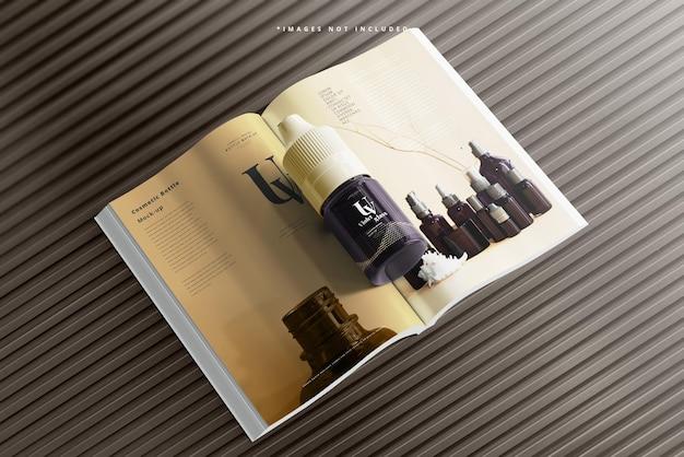 Flacon compte-gouttes licorne en verre uv avec maquette de magazine