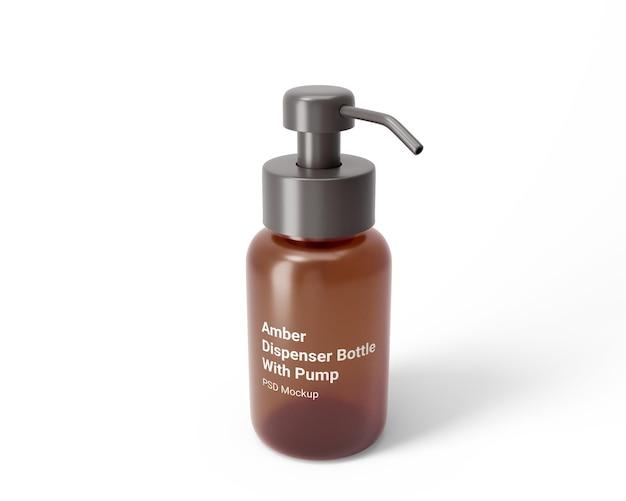 Flacon distributeur ambré avec maquette de pompe
