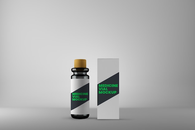 Flacon de médecine homéopathique et maquette de boîte