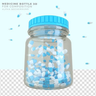 Flacon de médicament de rendu 3d avec capsules de pilules