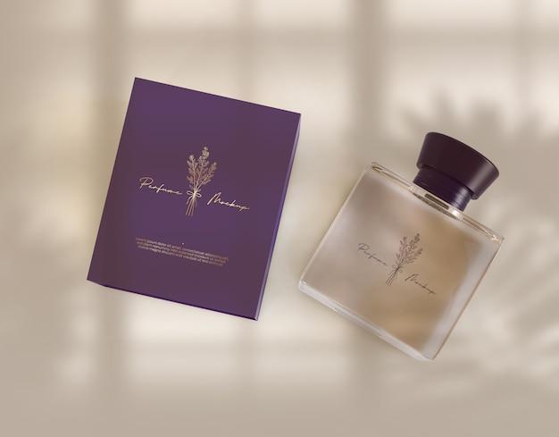 Flacon de parfum avec maquette de boîte