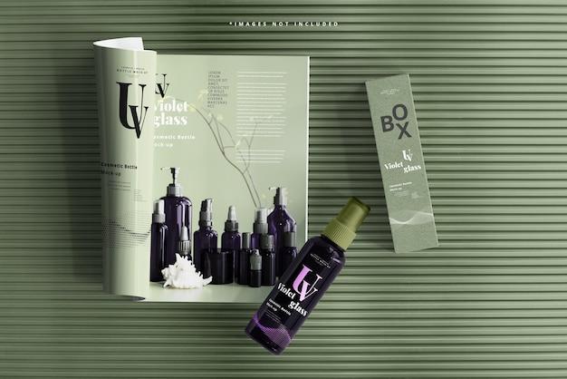 Flacon vaporisateur cosmétique en verre uv avec maquette de magazine