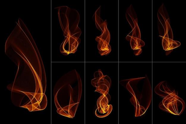 Flammes de feu abstraites isolées sur transparent