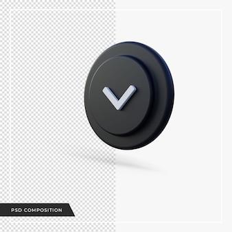 Flèche d'angle pointant vers le bas rendu 3d noir