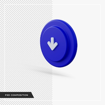 Flèche pointant vers le bas icône bleue rendu 3d