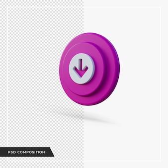 Flèche pointant vers le bas icône ronde voilet rendu 3d