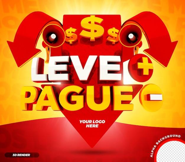 La flèche de rendu 3d paie moins prend plus de campagne brésilienne psd premium
