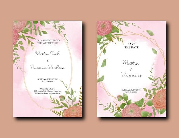Fleur et feuilles de pivoine rose doux élégant sur le modèle de carte d'invitation de mariage