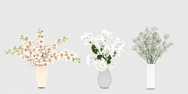 Fleurs dans un vase en rendu 3d isolé