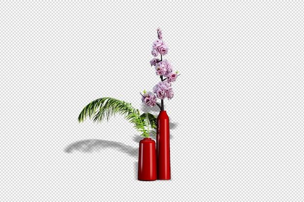 Fleurs en fleurs dans un vase en rendu 3d