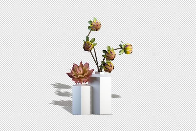 Fleurs d'hortensia dans un décor de vase en rendu 3d