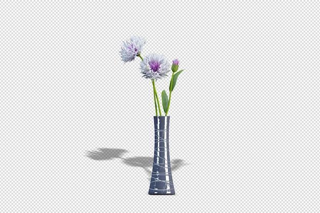 Fleurs d'iris de vase en rendu 3d