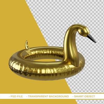 Flotteur de piscine de flamant doré d'été 3d isolé