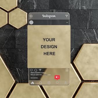 Flux de maquette de publication de médias sociaux instagram sur le rendu 3d de fond doré de tuile noire