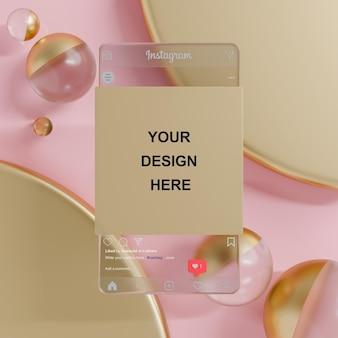 Flux de maquette de publication de médias sociaux instagram en verre sur fond rose de boule de verre rendu 3d