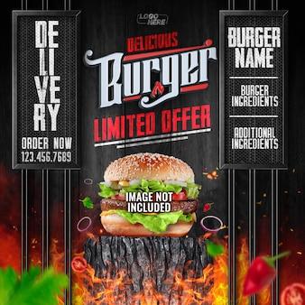 Flux de médias sociaux delicious burger livraison limitée commandez maintenant
