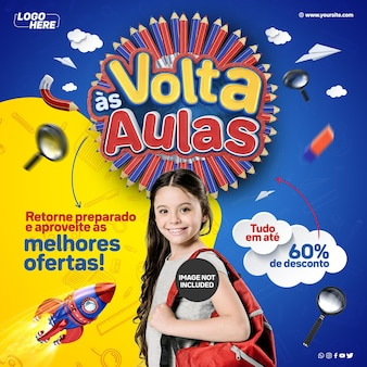 Flux des médias sociaux retour à l'école revenez préparé et profitez des meilleures offres au brésil