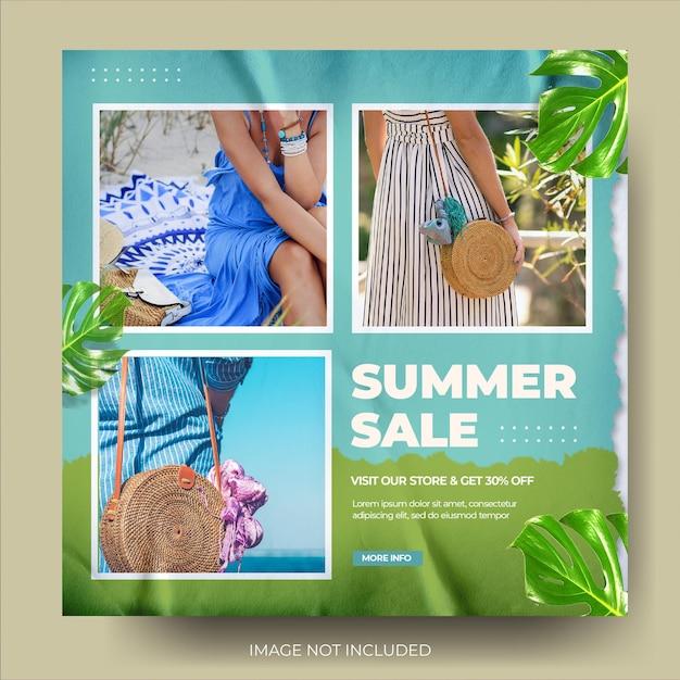 Flux de publication instagram de vente d'été de mode bleu vert dynamique