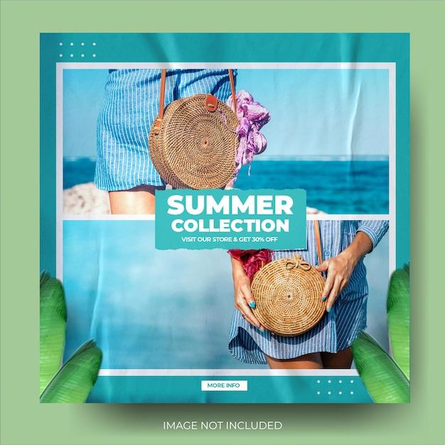 Flux de publication instagram de vente d'été de mode horizontale bleue minimaliste