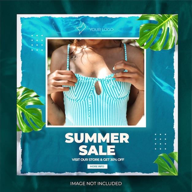 Flux de publication instagram de vente de mode dynamique bleue