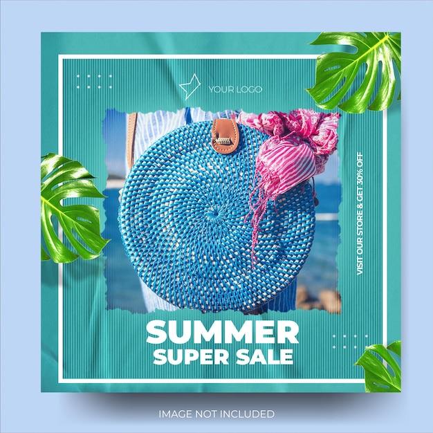 Flux de publication instagram de vente de mode d'été bleu élégant