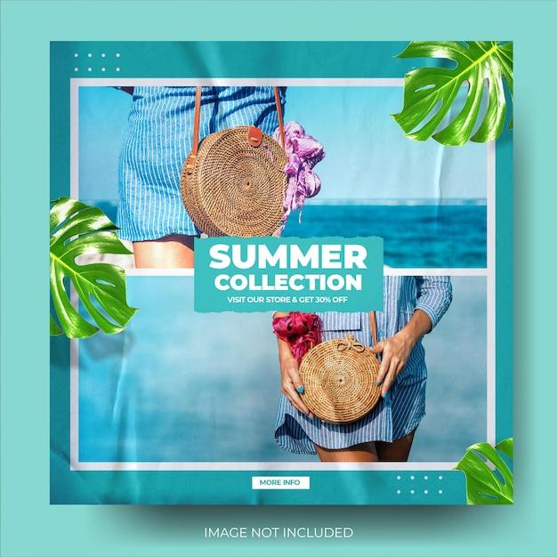 Flux de publication instagram de vente de mode d'été bleu moderne