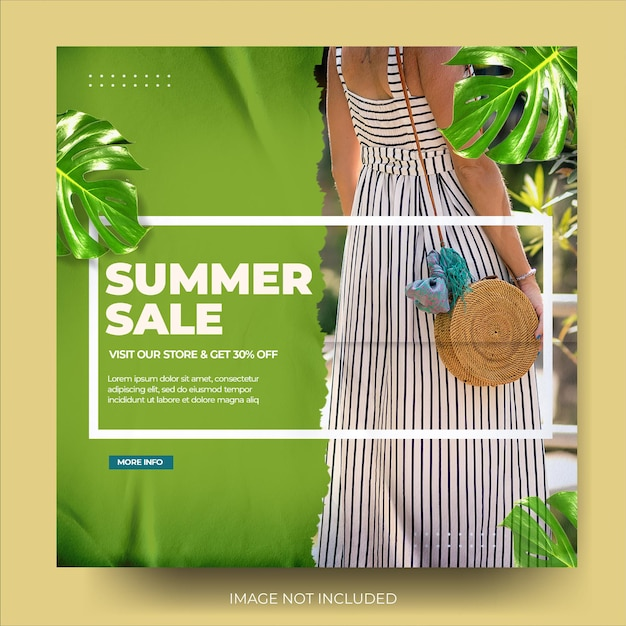Flux de publication instagram de vente de mode d'été déchirée verte moderne